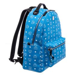 MCM Blue White Visetos Leather Medium Stark Backpack