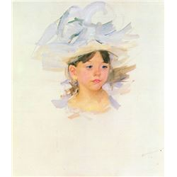 Mary Cassatt - Ellen Mary Cassat With Large Blue Hat