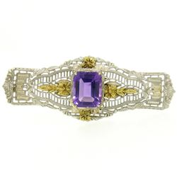 14k White & Green Gold 3.00 ctw Emerald Cut Amethyst Filigree Brooch Pin