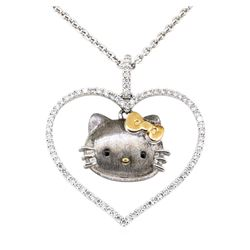 Sanrio 0.60 ctw Heart Shaped Hello Kitty Diamond Pendant with Chain  - 18KT Whit