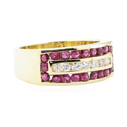 1.03 ctw Ruby And Diamond Ring - 14KT Yellow Gold