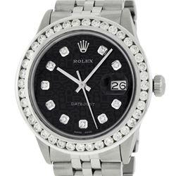 Rolex Mens Stainless Steel Black Jubilee 3 ctw Diamond Datejust Wristwatch