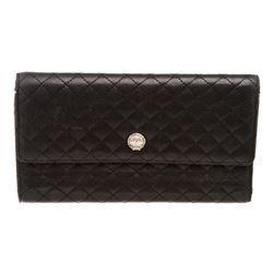 Chanel Black Quilted Leather Trifold Long Wallet