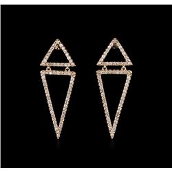 0.90 ctw Diamond Earrings - 14KT Rose Gold
