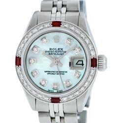 Rolex Ladies Stainless Steel Blue MOP Diamond & Ruby Datejust Wristwatch
