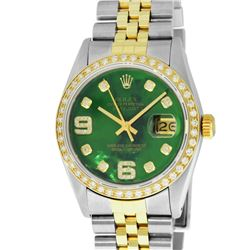 Rolex Mens 2 Tone 14K Green Diamond 36MM Datejust Wristwatch