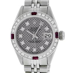 Rolex Ladies Stainless Steel Slate Grey Stamp Diamond & Ruby Datejust Wristwatch