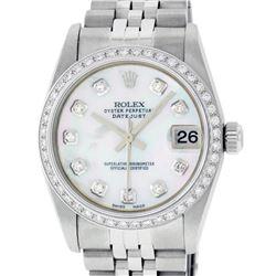 Rolex Womens Midsize 31mm MOP Diamond Bezel Jubilee Band Datejust Wristwatch
