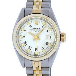 Rolex Ladies 2 Tone 14K White Index 26MM Fluted Datejust Wristwatch