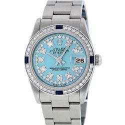 Rolex Womens Midsize 31mm Blue String Diamond & Sapphire Datejust Wristwatch