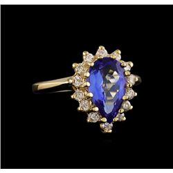 2.68 ctw Tanzanite and Diamond Ring - 14KT Yellow Gold