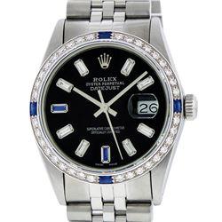 Rolex Mens Stainless Steel Black Baguette Diamond Dial & Sapphire Datejust Wrist
