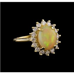 1.90 ctw Opal and Diamond Ring - 14KT Yellow Gold