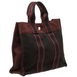 Hermes Burgundy Canvas Sac Fourre PM Tote Bag