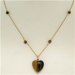 """14K Yellow Gold 16"""" Double Cable Link Chain w/ Tiger's Eye Heart Pendant & Beads"""