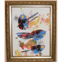 "Abstract Fish original painting by LangdonArt -9x7"" / 7x9"" peinture original Poissons abstraits"