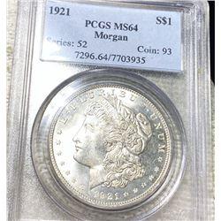 1921 Morgan Silver Dollar PCGS - MS64