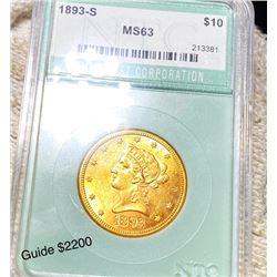 1893-S $10 Gold Eagle NTC - MS63