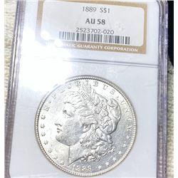 1889 Morgan Silver Dollar NGC - AU58