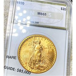 1920 $20 Gold Double Eagle NGS - MS65