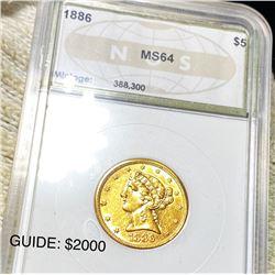 1886 $5 Gold Half Eagle NGC - MS64