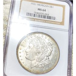1921 Morgan Silver Dollar NGC - MS64
