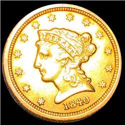 1840-O $2.50 Gold Quarter Eagle NEAR UNC
