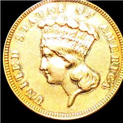1882 $3 Gold Piece ABOUT UNCIRCULATED