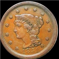 1851 Braided Hair Large Cent ABOUT UNCIRCULATED