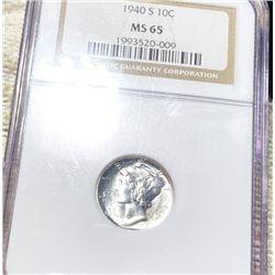 1940-S Mercury Silver Dime NGC - MS65