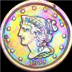 1855 Braided Hair Half Cent NEARLY UNCIRCULATED