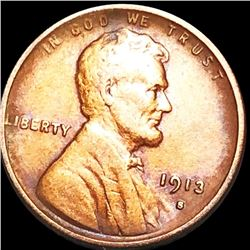 1913-S Lincoln Wheat Penny ABOUT UNCIRCULATED