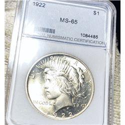 1922 Silver Peace Dollar NNC - MS65