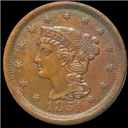1851 Braided Hair Large Cent CLOSELY UNCIRCULATED