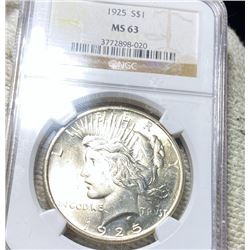 1925 Silver Peace Dollar NGC - MS63