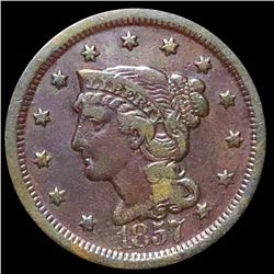 1857 Braided Hair Large Cent LIGHTLY CIRCULATED