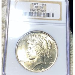 1922 Silver Peace Dollar NGC - MS64