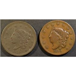 1832 & 39 LARGE CENTS VG
