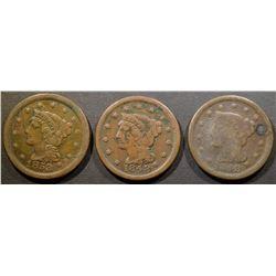 3 LARGE CENTS 1853, 2 1848