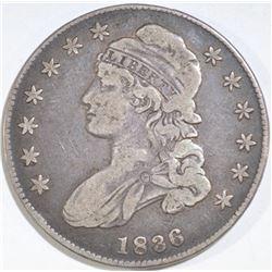 1836 LETTERED EDGE BUST HALF VG
