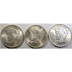3 1922 PEACE DOLLARS BU