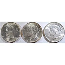 1922, 23, 24 PEACE DOLLARS BU