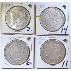 4 CIRCULATED MORGAN DOLLARS 1921, 2 21-S, 1890