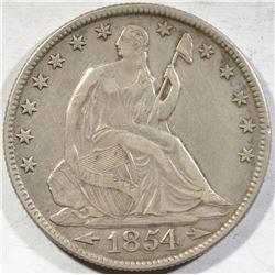 1854-O SEATED LIBERTY HALF DOLLAR XF+