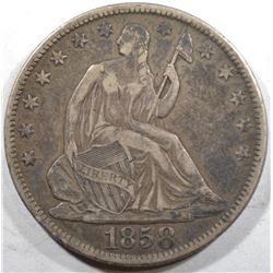 1858-O SEATED LIBERTY HALF DOLLAR XF