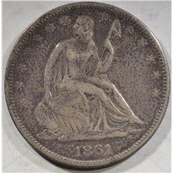 1861 SEATED LIBERTY HALF DOLLAR XF