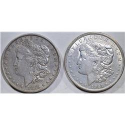 1878 7 TF REV. 79 XF & 1921-D AU MORGAN DOLLARS