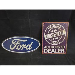 FORD AND CHRYSLER SIGNS SIZE 12 NO RESERVE