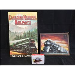 CN RAILWAY AND NEW YORK CENTRAL PICTURE AND SHORTBREAD TIN NO RESERVE