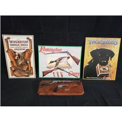 3 AMMUNITION SIGNS AND PISTOL AND RIFLE WALL HANGING NO RESERVE